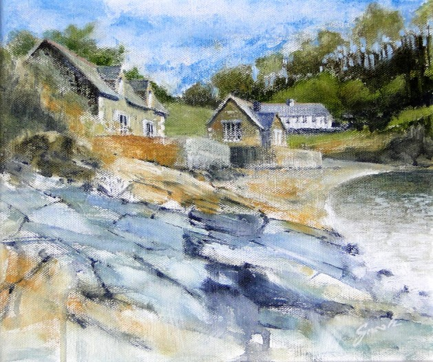 Durgan Beach, Cornwall. Original art by David Snook