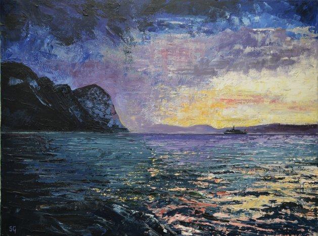 Gathering Storm, Lake Lucerne. Original art by Simon Gilmartin