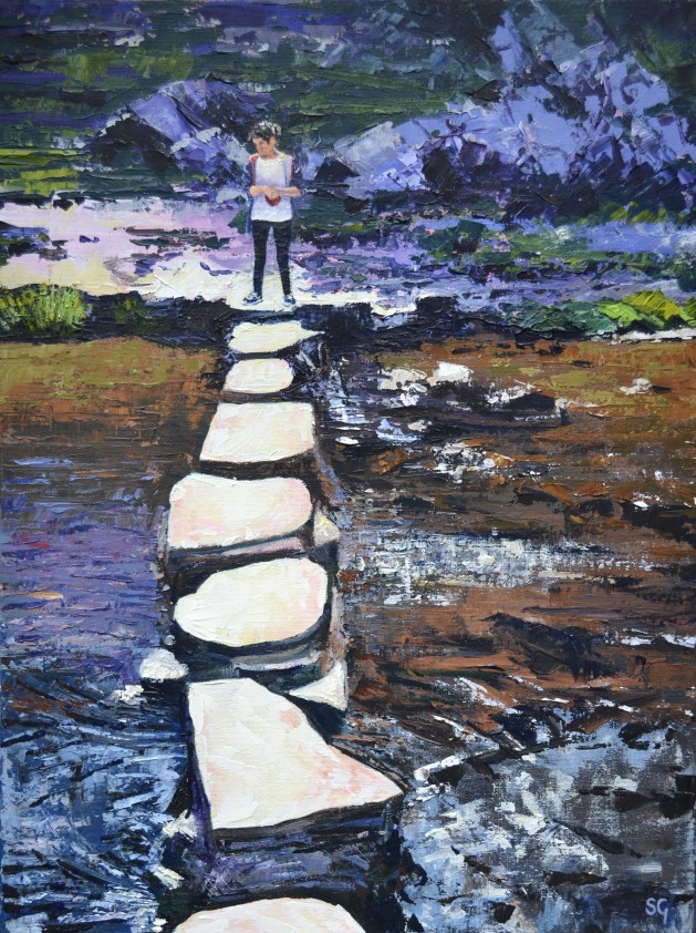 Waiting to Cross, Dovedale. Original art by Simon Gilmartin