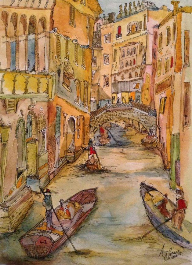 Venice Waterway. Original art by Adrian Green