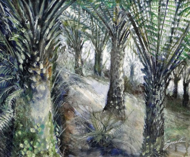 Tree fern forest @ Trebah. Original art by David Snook