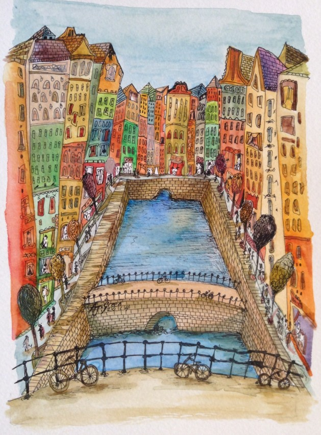 Amsterdam. Original art by Adrian Green