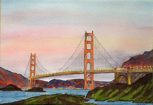 Golden Gate Bridge. Original art by Graham Luscombe