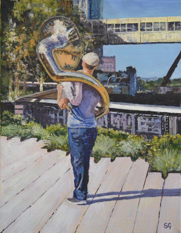 Walking the High Line, New York. Original art by Simon Gilmartin