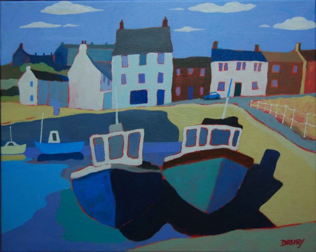 Scottish Harbour. Original art by Randle Drury