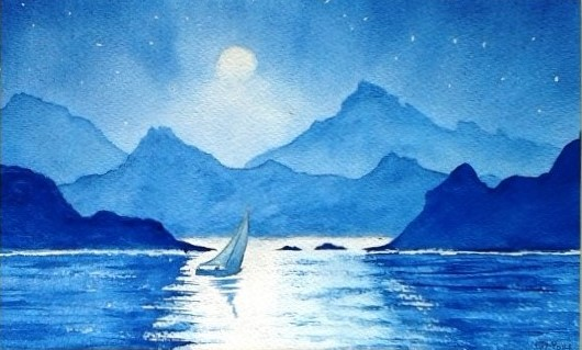 Sailing By Moonlight. Original art by Graham Luscombe