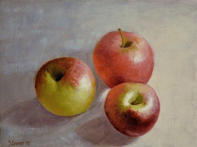 Apple Trio Still Life. Original art by Steve Driver