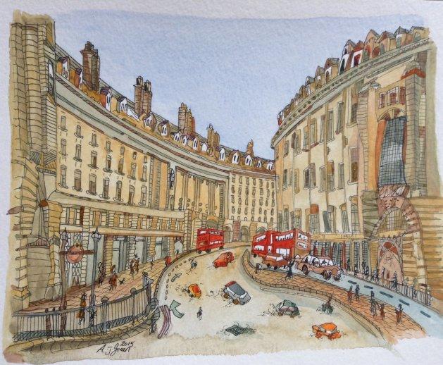Regent Street, London. Original art by Adrian Green