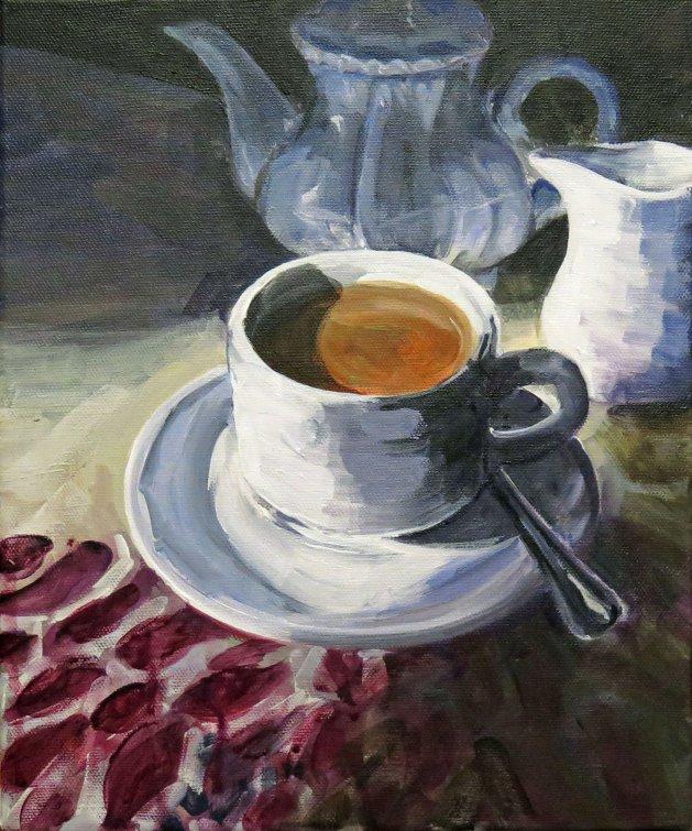 Tea for One. Original art by Lynn Marie Hall