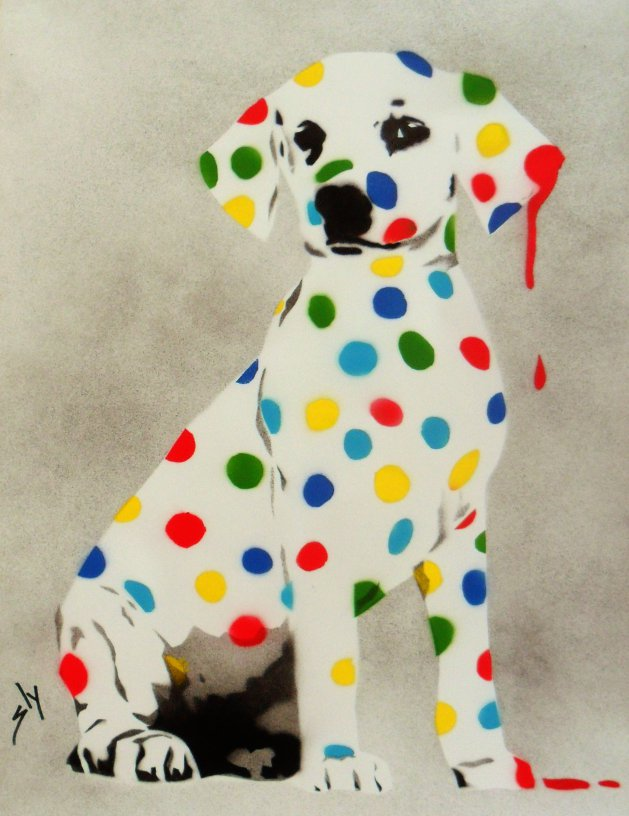 Damien\'s Dotty, Spotty Puppy Dawg on paper + FREE poem.. Original art by Juan Sly
