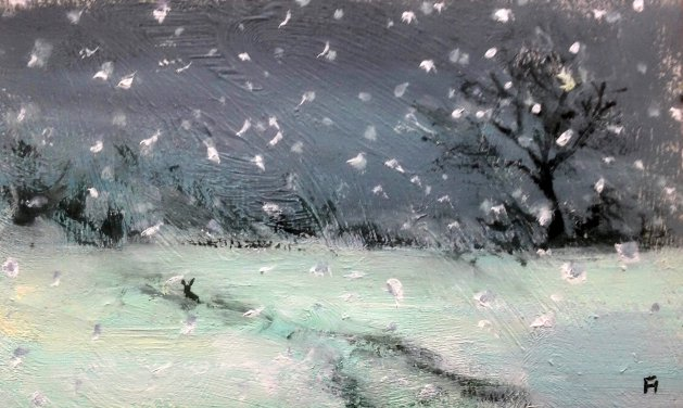 Hare in the Snow. Original art by Fran Hillman
