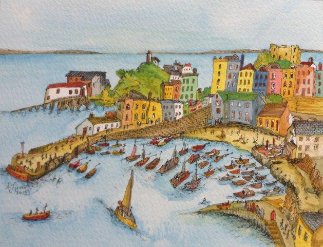 Tenby Harbour, Wales.. Original art by Adrian Green