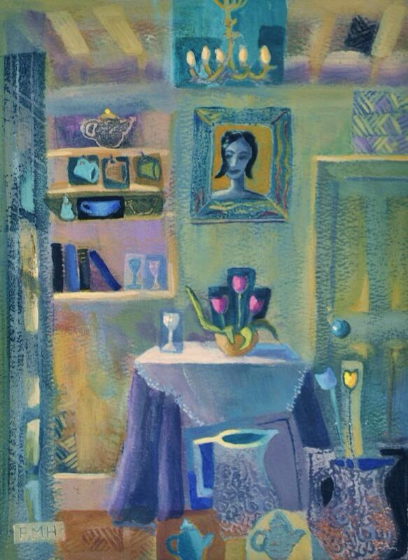 Interior With Tulips. Original art by Fran Hillman