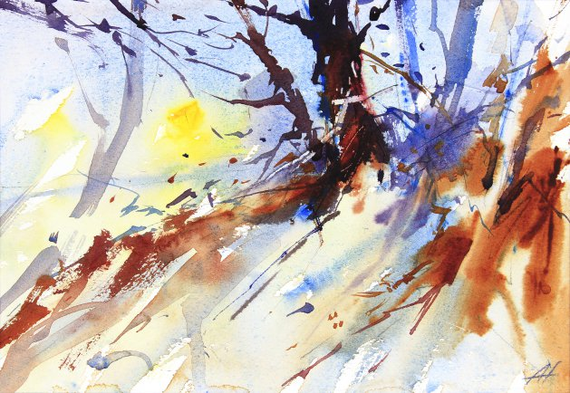 December Sun. Original art by Adrian Homersham