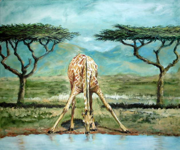 Water hole. Original art by David Snook