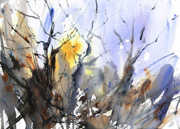 Chaos of Winter Trees. Original art by Adrian Homersham