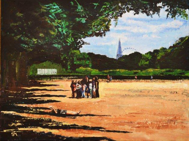 Summer School, Hyde Park London. Original art by Simon Gilmartin