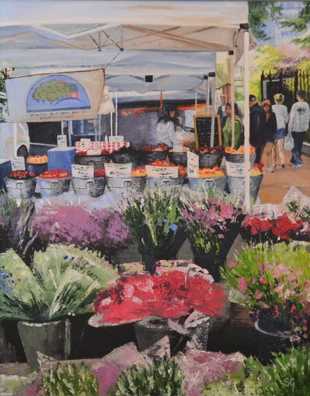 Street Market, Tribeca NY. Original art by Simon Gilmartin