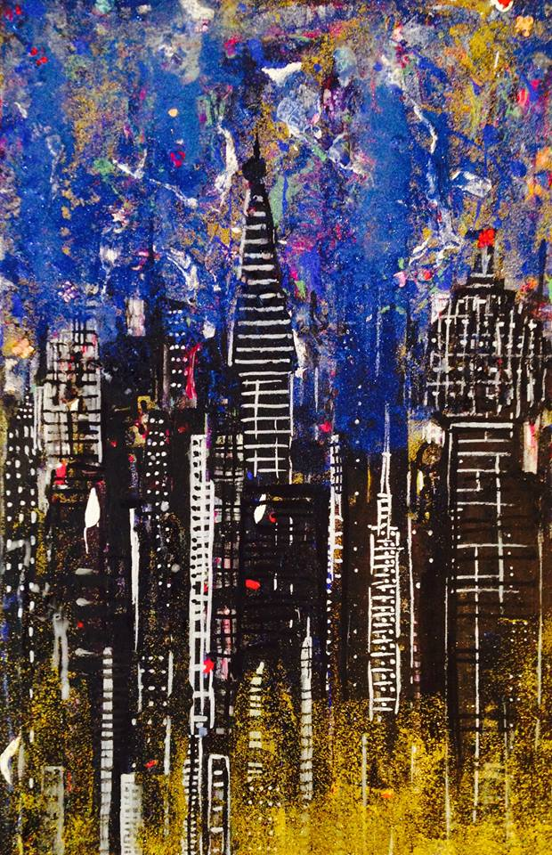 Night City. Original art by Ashlie Urquhart