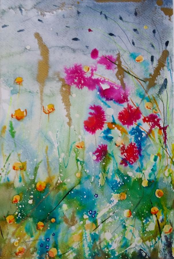 Wild Flowers 2. Original art by Yvette Rawson