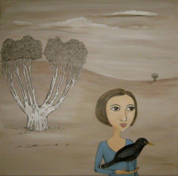 Morrigan, the Crow. Original art by Sue Wright