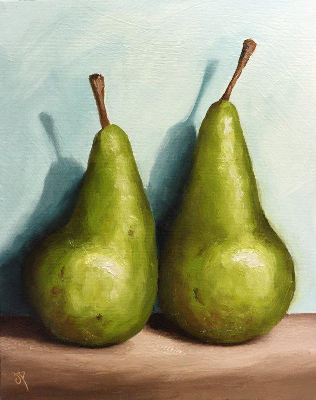 Pair of pears. Original art by Jane Palmer