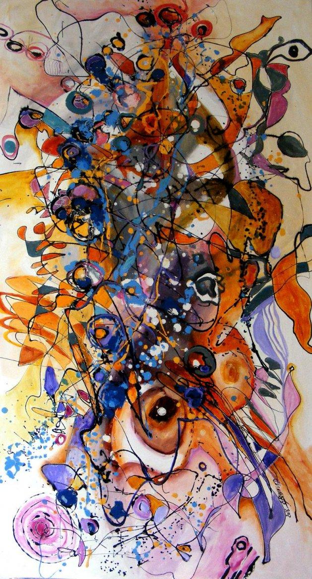 Cocotier, abstract, original art. Original art by Elena Bissinger