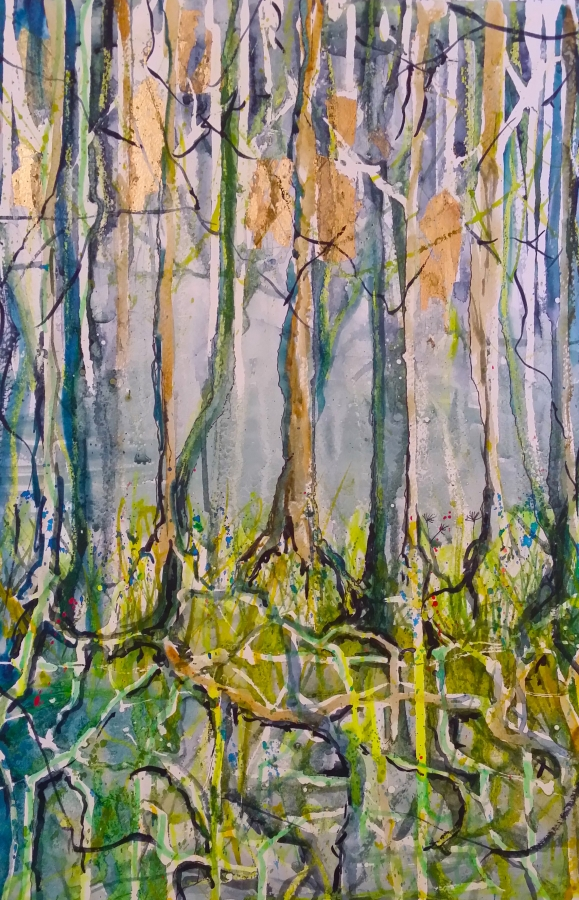 Trees and Roots. Original art by Yvette Rawson