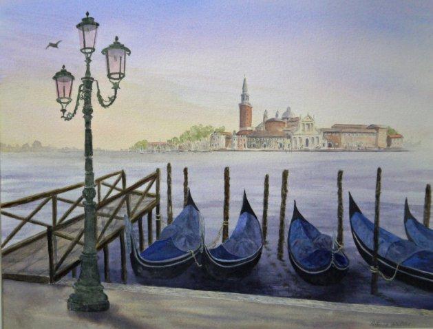 Dawn over San Giorgio Maggiore. Original art by Patricia Waller