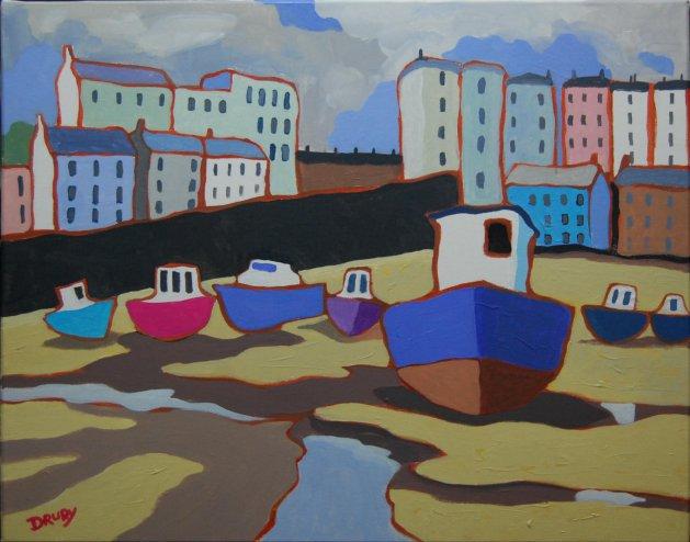Tenby Harbour. Original art by Randle Drury