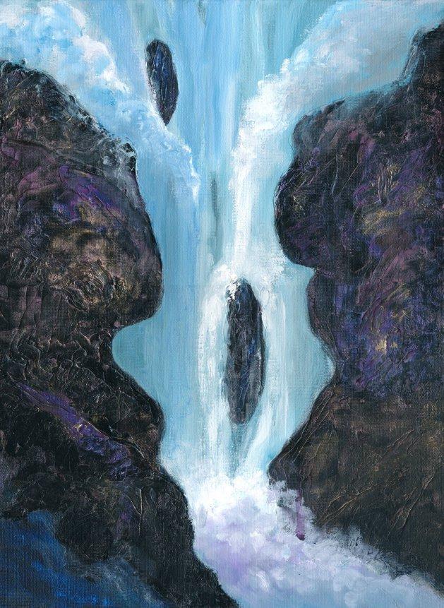 Waterfall. Original art by Christine Derrick