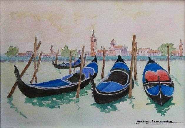 Venice Lagoon Gondolas. Original art by Graham Luscombe