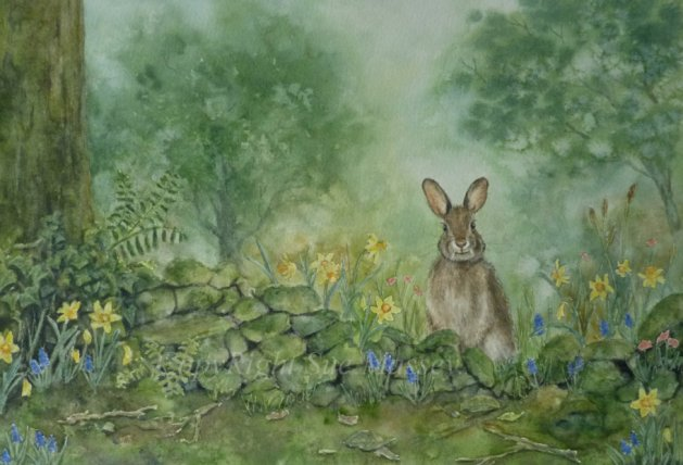 Spring Bunny.. Original art by Sue Massey