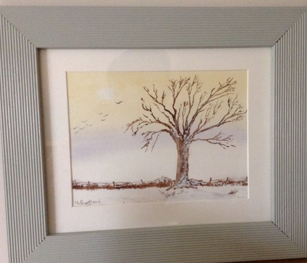 Oak in Winter. Original art by Irene Shortland