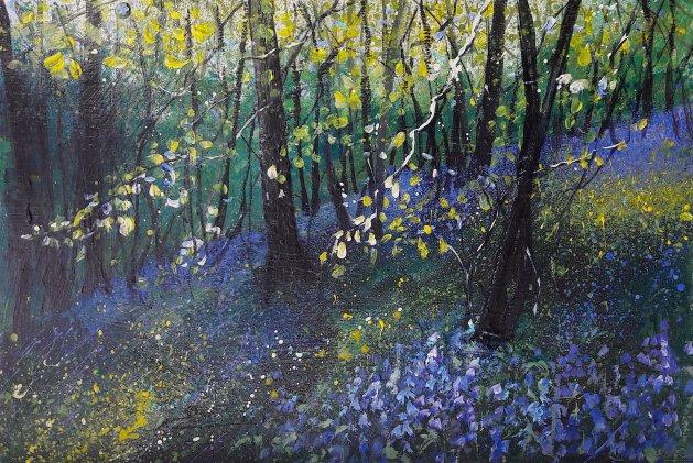 Bluebell Bank & Trees. Original art by Teresa Tanner