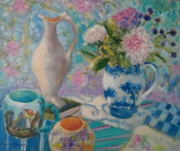 Blue and White Jug. Original art by Fran Hillman