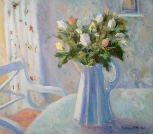 White Jug with Roses. Original art by Fran Hillman