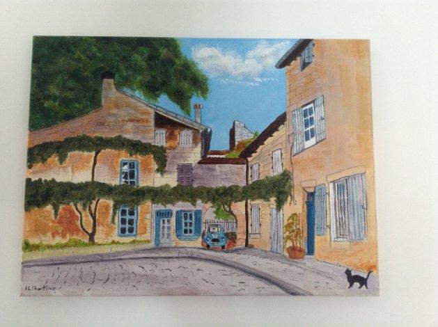 Quiet Corner in Provence. Original art by Irene Shortland