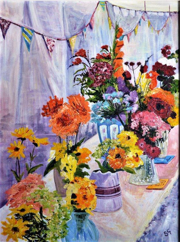 A Vase of Flowers. Original art by Simon Gilmartin