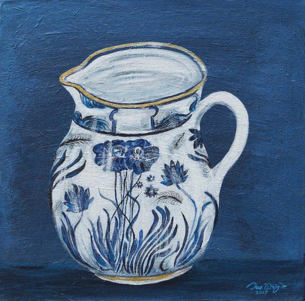 Old Blue Jug. Original art by Sue Wright