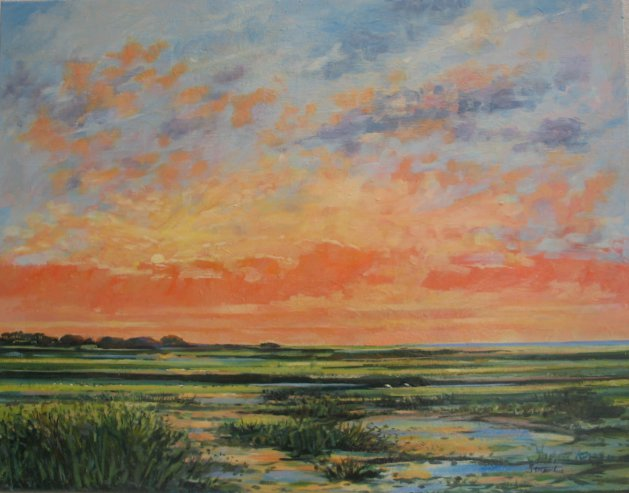 Sunset over Warham Salt Marsh. Original art by Stuart Peters