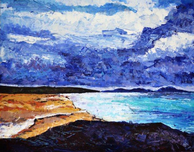 View of Aberffraw. Original art by Simon Gilmartin