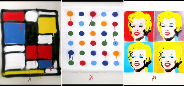 Other people's paintings only much cheaper: No3. Mondrian, No.6 Hirst and No 4. Warhol. Original art by Juan Sly