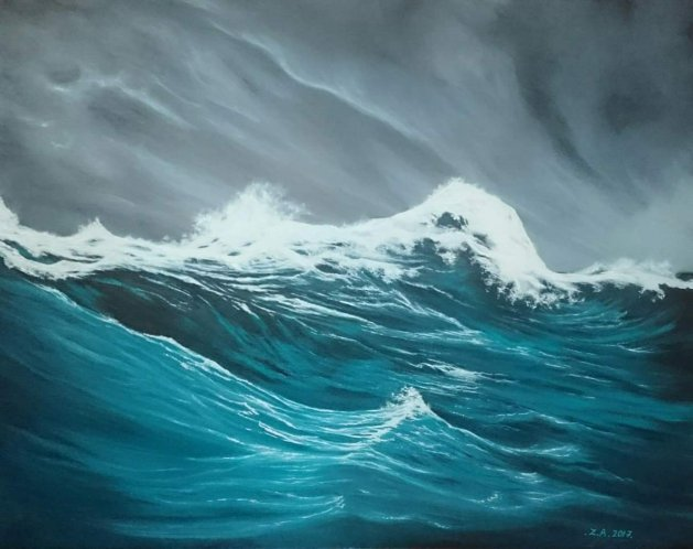 Sea storm. Original art by Zoe Adams
