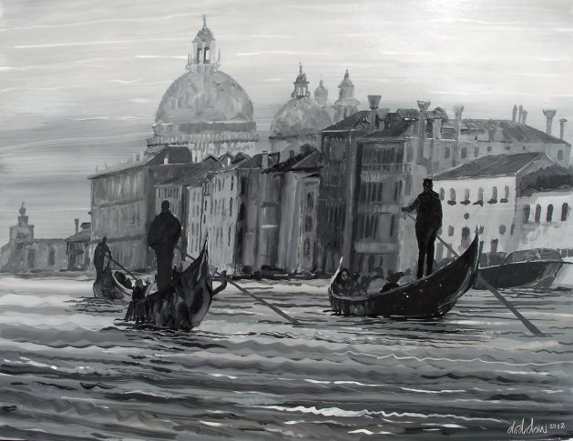 Gondolas on the Grand Canal, Venice. Original art by George Dow