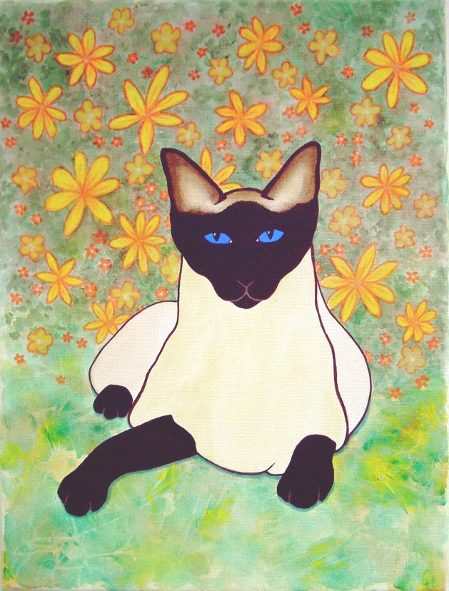Siamese Cat In The Garden. Original art by Tricia Cole