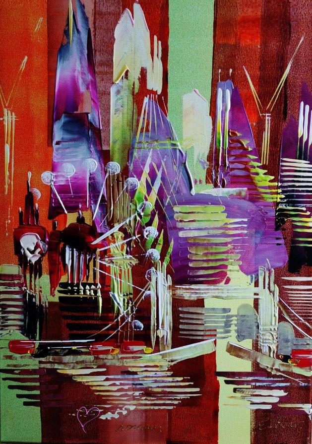 Abstract City Love London 101. Original art by Eraclis Aristidou