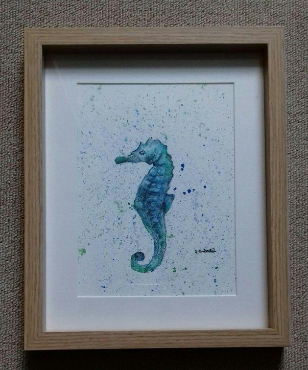 Blue Seahorse. Original art by Sarah Dodd