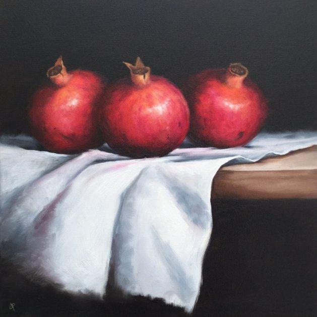 Three pomegranates. Original art by Jane Palmer