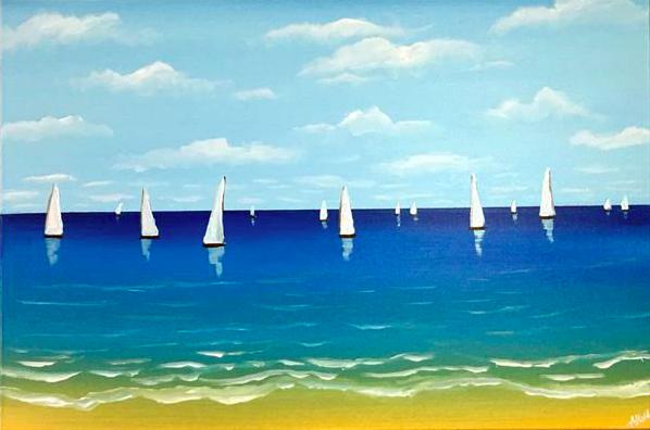 Sailing In The Blue Sea. Original art by Aisha Haider